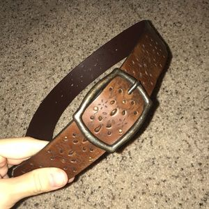 Brown leather printed target belt